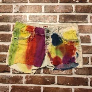 Cut off denim shorts tie dye